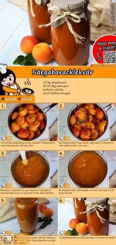 Aprikosenmarmelade Do not spoil ripe apricots in grandma's garden, cook delicious apricot jam! The apricot jam recipe video is easy to find using the QR code :] jam Dessert Oreo, Dessert Drinks, Dessert Recipes, Hungarian Desserts, Hungarian Recipes, Apricot Jam Recipes, Vegan Recipes, Cooking Recipes, Vegetable Drinks