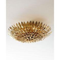 Golden Mum Flush-Mount Light Fixture found on Polyvore featuring polyvore, home, lighting, ceiling lights, atqgld, flush mount lamp, golden light, wall-mounted lamps, handmade lights and ceiling mounted lights