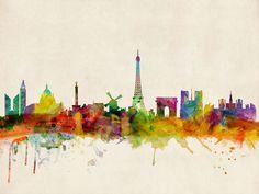Paris Skyline Watercolor Stretched Canvas