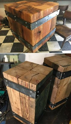 DIY upcycle wooden rustic nightstand/side table