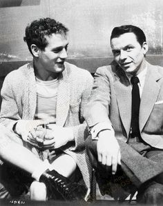 Blue eyes are always in style. Paul Newman with Frank Sinatra...some of the best blue eyes around! Too bad the photo isn't in color.
