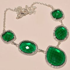 """EXCELLENT CHROME DIOPSIDE WITH WHITE CZ .925 SILVER NECKLACE 18""""  #Handmade #Pendant"""