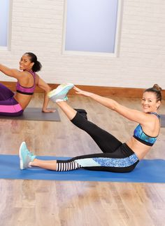 10 Minutes to Your Flattest Belly Ever: glider pike, glider jacks, atomic crunch, alternating toe touch, runner's crunch with a twist.