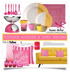 """""""Home Wonders: Pink & Yellow Color Challenge"""" by nonniekiss on Polyvore featuring interior, interiors, interior design, home, home decor, interior decorating, Chilewich, Room Essentials, Dot & Bo and Damsel in a Dress"""