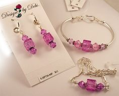 Light Purple Crackle Glass Cubes and Bicones Bracelet Earrings Anklet