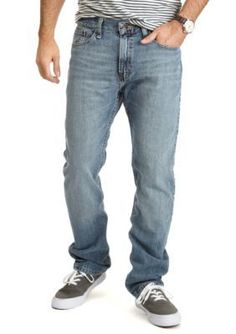 Nautica Rock Point Blue Straight Fit Cross Hatch Jeans