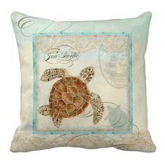 Sea Turtle Coastal Beach - Home Decor Pillow