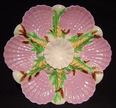 19th C.  majolica oyster plate