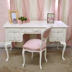 Lovely 3 Drawer Writing Desk in White with Roses $805.50 #thebellacottage #shabbychic #SALE