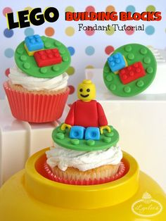 LEGO Fondant Tutorial -- construct your own LEGO-inspired cake & cupcake toppers
