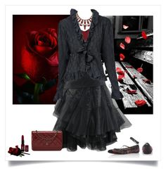"""""""Romantic Night Out"""" by ember-violet ❤ liked on Polyvore featuring Etro, Yves Saint Laurent, NYX, Chanel, romantic, NightOut, MyStyle, beoriginal and blackandred"""