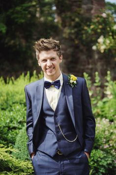 Next Suit Groom Blue Bright Tea Party Yellow Wedding http://www.gemmawilliamsphotography.co.uk/