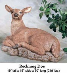 Reclining Doe by Henri Studio : Apollo Statuary: Statues, pedestals, planters, fountains, and much more! Deer Statues, Apollo, Pedestal, Recliner, Kangaroo, Dinosaur Stuffed Animal, Planters, Studio, Animals