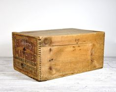 Vintage Large Wood Crate Antique Wood Box Lidded