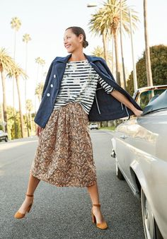 """How It's Done: The Drakes Giraffe Print Skirt – J.Crew Blog """"I like mixing and matching disparate prints, like pairing this exotic, batik-like giraffe print with stripes. That unexpectedness defines  an outfit."""""""