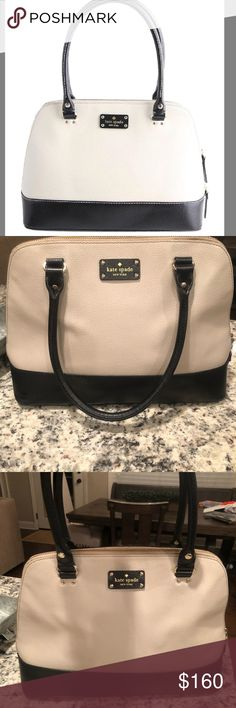 Kate Spade Purse Cream and black Kate Spade purse! Like new condition on the outside (no marks! ) inside is used looking, perfect everyday wear or throw on some matching black pumps and call it a night out! kate spade Bags Totes