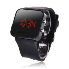 awesome dipper-mall Classical Mirror Face LED Silicone Men Lady Sport Wrist Watch Black  –  Prosociate