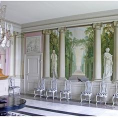 Åkerö Slott - The trompe l'oeil wall decorations in the dining room at Carl Gustaf Tessin's country house Åkerö was painted by Olof Fridsberg after designs by the French artist Louis-Josep Le Lorrain.