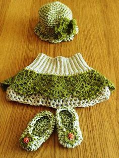 Crochet Newborn baby girl set hat skirt shoes
