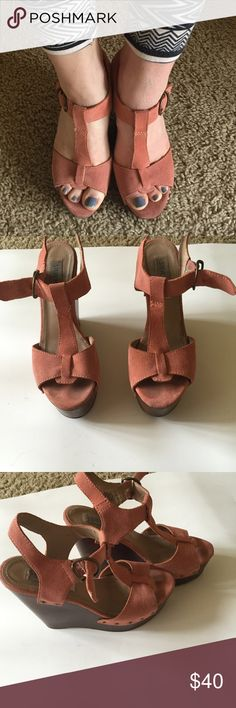 Steve Madden wooden wedges with coral suede Steve Madden wooden wedges with coral suede. Size 7. Some signs of wear. Very comfortable ! Steve Madden Shoes Wedges