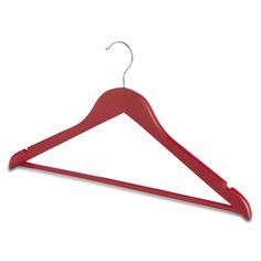 Matt Red Wooden Hanger with Trouser Bar