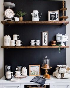 Coffee bar, coffee station, chalkboard wall, Rae Dunn, coffee bar decor, coffee bar shelves, farmhouse kitchen