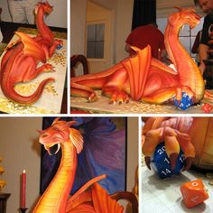 Dragon cake and gaming dice! via thinkgeek.com from http://w   Geekery