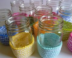 Crochet Dynamite: Mason Jar Covers, could make these taller to cushion jars when taking salad for lunch