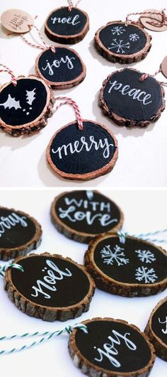 Christmas DIY: Rustic Tree Slice Or Rustic Tree Slice Ornaments. These rustic tree slice ornaments are a great addition to your Christmas ornament collection. Rustic Christmas Ornaments, Noel Christmas, Winter Christmas, Ornaments Ideas, Diy Christmas Tree Decorations, Outdoor Christmas, Wood Ornaments, Homemade Christmas Ornaments, Christmas Tree Ideas