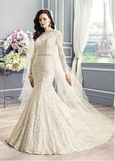 Fabulous Lace & Satin Bateau Neckline Mermaid Wedding Dresses with Beadings and Rhinestones