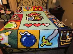 Zelda Quilt Pattern – 72 x 90 – Pattern only Makes me want to learn how to quilt! Zelda Quilt Pattern 72 x 90 by McFrogling on Etsy Pac Man, Legend Of Zelda, Geeks, Camas Queen Size, Geek Home Decor, Zelda Video Games, Video X, Space Invaders, Geek Out
