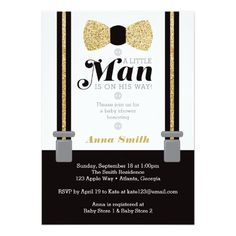Little Man Baby Shower Invitation, Gold and Black