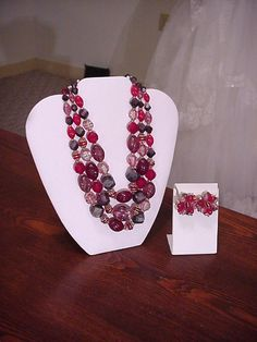 Exquisite 1940's Vintage 3 Strand Jeweled Carved by OldohioVintage, $39.99