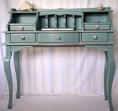 painted desk - painted furniture - blue desk