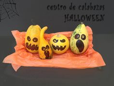 Centro de calabazas Halloween - http://www.manualidadeson.com/centro-de-calabazas-halloween.html
