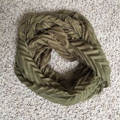 Olive Green Chevron Infinity Scarf Olive Green Chevron Infinity Scarf. Excellent Condition, never worn. Accessories Scarves & Wraps