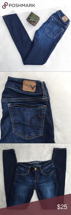 American Eagle Super Strength Jegging Jeans American Eagle super stretch jegging jeans. Size 0. Approximate measurements at 26' waist & 29' inseam. GUC. Dark wash. ❌No trades ❌ Modeling ❌No PayPal or off Posh transactions ❤️ I 💕Bundles ❤️Reasonable Offers PLEASE ❤️ Bundle & SAVE❗️❗️ American Eagle Outfitters Jeans Skinny