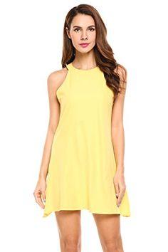 5998a3bd68bb23 Women s Chiffon Tank Dress Summer Sleeveless Party Dress