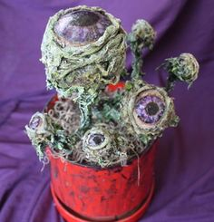 Eyeball plant made from styrofoam balls, acrylic paint, bathroom tissue mache, a stick, some moss for the base and an old pot. from My Ghoul Friday