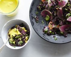 Bright turmeric dressing and a spring black rice salad | Amy Chaplin
