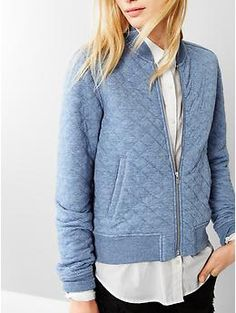 Quilted knit bomber | Gap