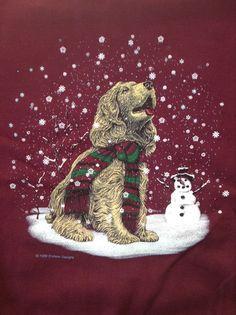 1999 Endless Designs Pleasant Shade Sweater Sweatshirt Winter Christmas Puppy L #PleasantShade #Sweatshirt