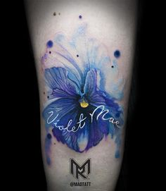 blue violets tattoos watercolour - Google Search
