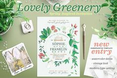 Lovely Greenery Wedding Card I by The Wedding Shop on @creativemarket