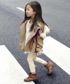little small cute asian chinese girl brown hair winter fall coat anorak fur cap hat white cardigan sweater top pants shoes booties boots
