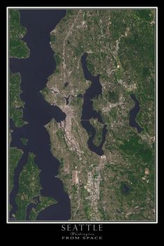 Seattle Washington From Space Satellite Art Poster