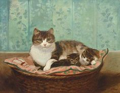 Alexandre Clarys    Cat and Kittens in a Basket    19th century