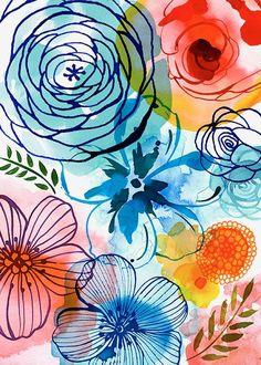 Margaret Berg Art: Artisanal Floral Blue
