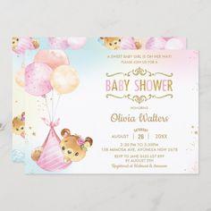 Whimsical Cute Bear Balloons Baby Shower Girl Invitation Rainbow Balloons, Pink Balloons, Baby Shower Balloons, Baby Shower Invites For Girl, Baby Shower Invitations, Girl Shower, Cute Bear, Teddy Bear Baby Shower, Bear Girl