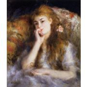 Oil Painting: Young Woman Seated (The Thought): Pierre Auguste Renoir